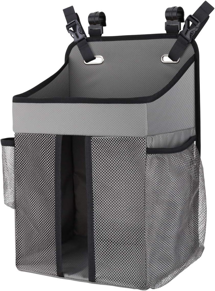 Zooawa Bolsa de Pañales de la Cama de Bebé Colgante para Almacenamiento de Ropa de Cama, Organizador de Guardería, Portátil, Plegable para Cuna de Bebé de Almacenaje Multiuso - Gris
