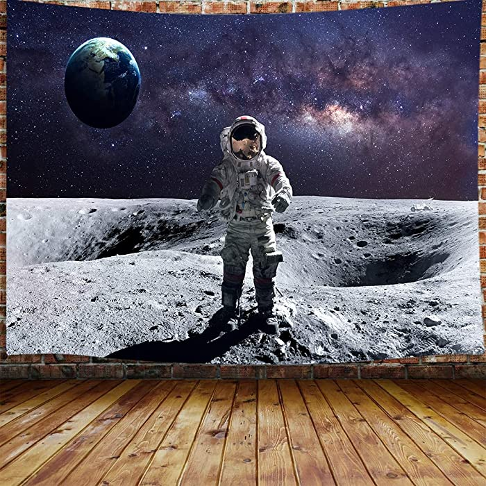"""JAWO Astronaut Tapestry for Men, Outer Space Tapestry Wall Hanging for Bedroom, Moon Walk Earth Tapestry Beach Blanket College Dorm Home Decor (71"""" W X 60"""" H)"""