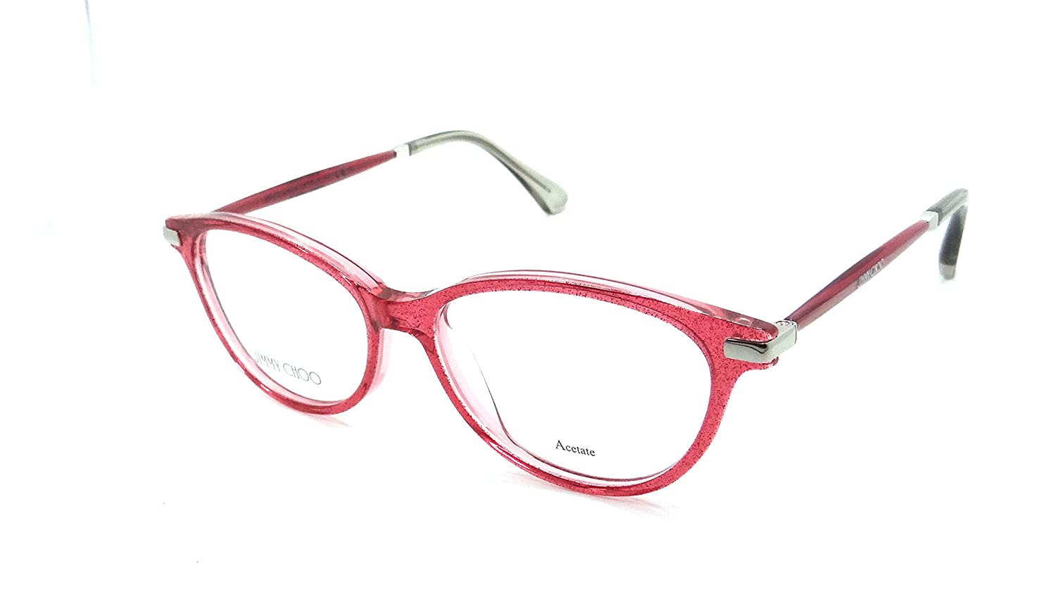 08e41eacc11d Jimmy Choo Rx Eyeglasses Frames JC 153 QC8 52-15-140 Red Glitter Made in  Italy at Amazon Women s Clothing store