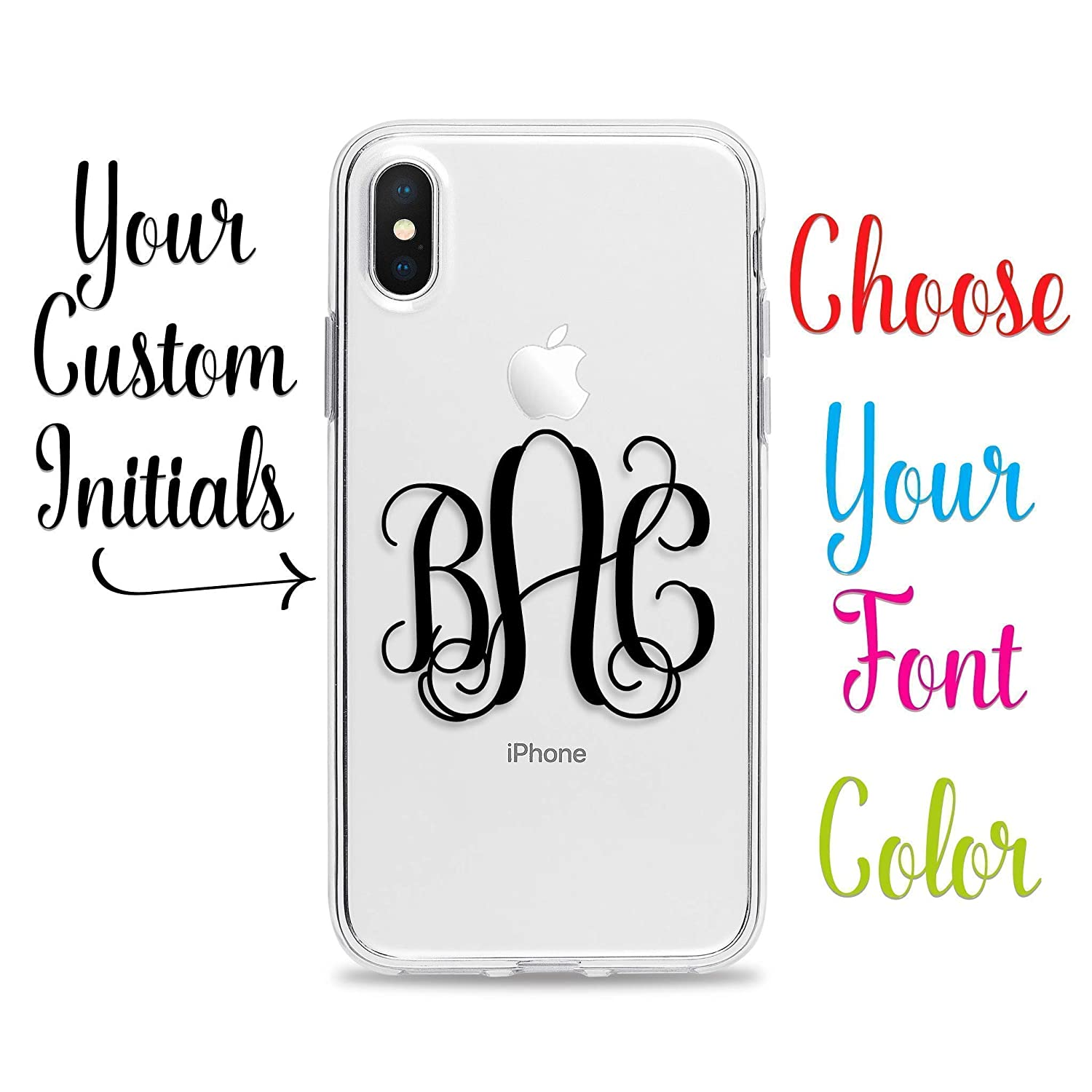 Clear Phone Case with Monogram for iPhone XS X 10 8 Plus 7 6s 6 SE 5s 5 Samsung Galaxy S9 S8 S7 edge S6 Personalized Custom Initials