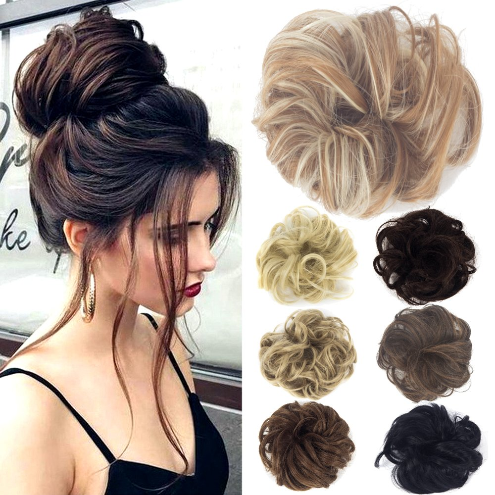 Lelinta Hair Bun Extensions Wavy Curly Messy Donut Chignons Piece Wig Hairpiece