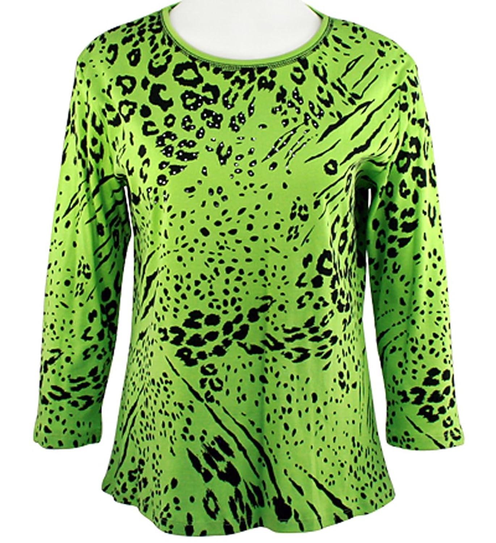 Jess & Jane - Animal Decor, Green Top 3/4 Sleeve Scoop Neck Rhinestone Accents