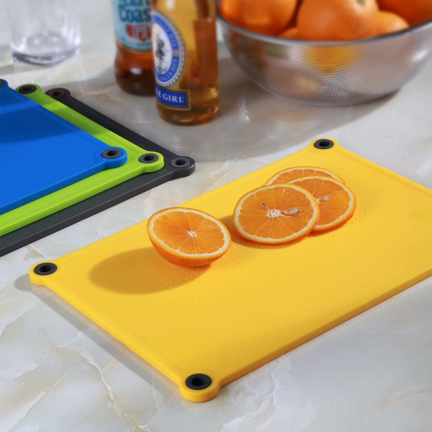 IDDOMUM Plastic Cutting Board for Kitchen (4-Piece Set), BPA Free, Double-Side Design, Dishwasher safe with Non-Slip Feet and Non-Spill Edges