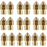 LEOWAY 18 Pcs MK8 Extruder Nozzle M6 3D Printer Extruder Brass Nozzle Print Head with 7 Different Sizes (0.2mm, 0.3mm, 0…
