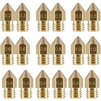 LEOWAY 18 Pcs MK8 Extruder Nozzle M6 3D Printer Extruder Brass Nozzle Print Head with 7 Different Sizes (0.2mm, 0.3mm, 0…