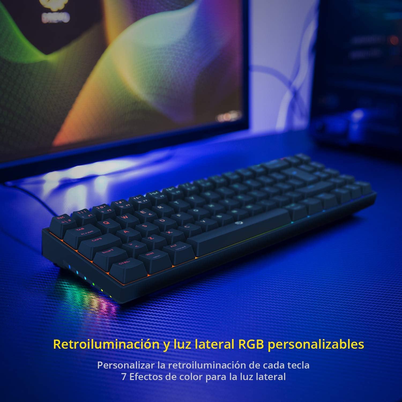 DREVO Calibur V2 TE 60% Teclado Mecánico para Juegos, Distribución QWERTY Españo, Compacto de 72 Teclas, Compatible con PC/Mac, USB Tipo C extraíble, ...