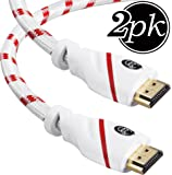 HDMI Cable 6 ft (Latest Standard) (1.8m) 4K Resolution (2-Pack) High Speed HDMI Cable (2.0b) Supports Ethernet, Ultra HD, HDR Video, Bandwidth 18Gbps, Audio Return Channel, 6 Feet, HDCP 2.2 Compliant