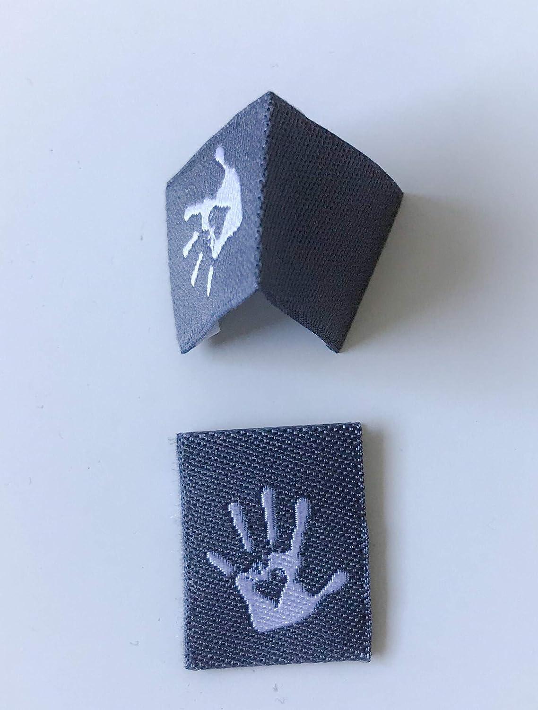 Sylter N/ähkultur 10 Handmade Label hochkant Webetiketten Einn/ähetiketten Textiletiketten Kleideretiketten Hellblau//Dunkelblau