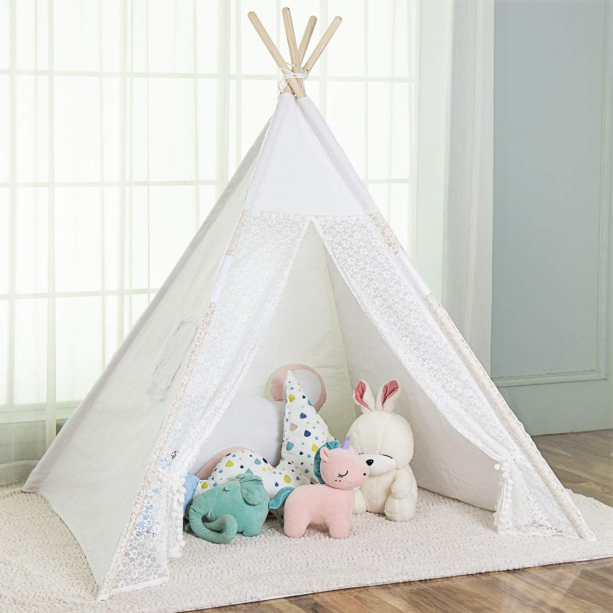 OUTREE Indoor Teepee Tent for Kids with 4 Wooden Poles and Carry Bag, Portable Canvas Tent with lace Edge