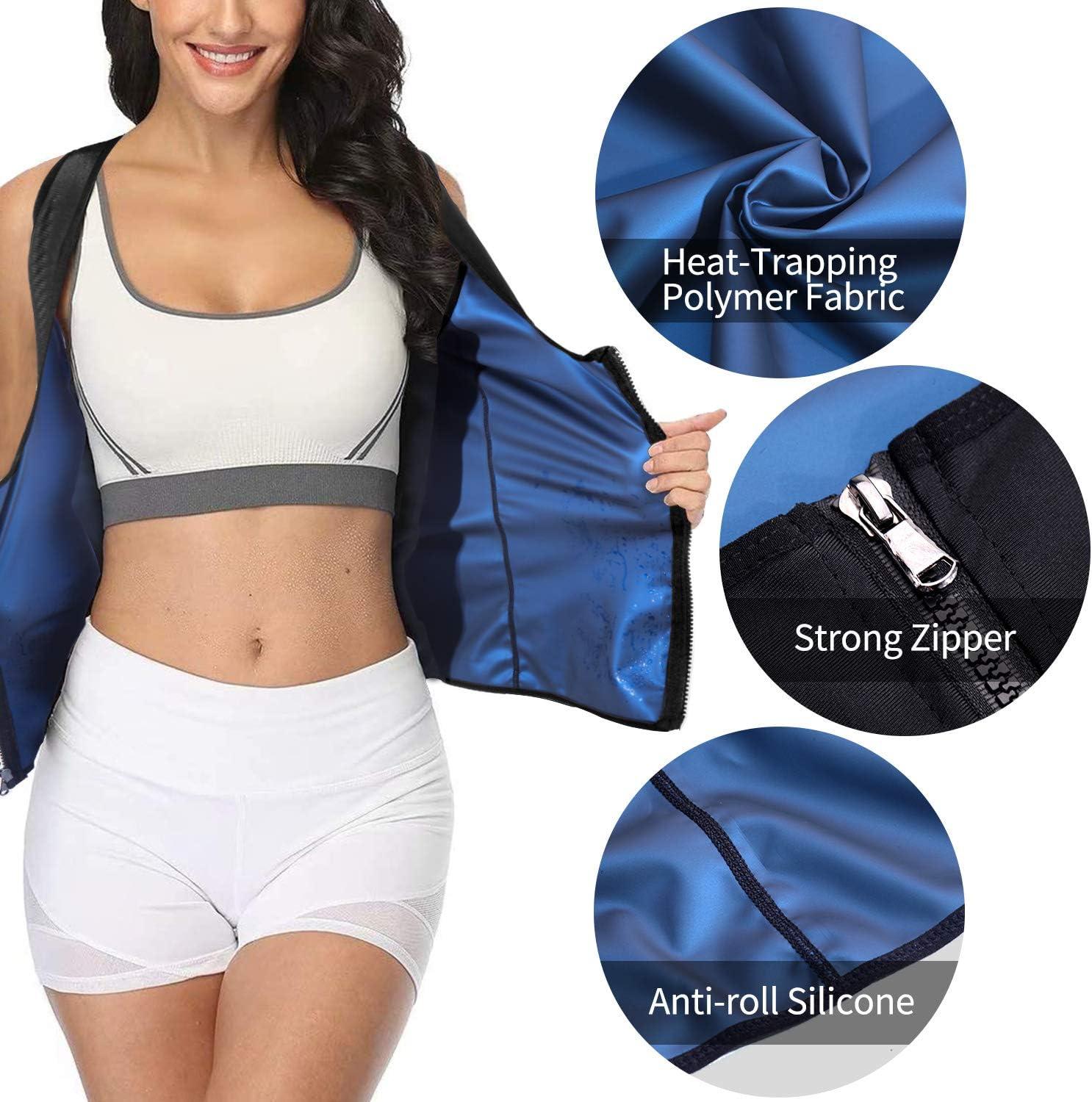 SALNIER Women Sauna Sweat Vest Hot Polymer Corset Waist Trainer Sauna Suit Tank Top Zipper Weight Loss Body Shaper Workout Shirt