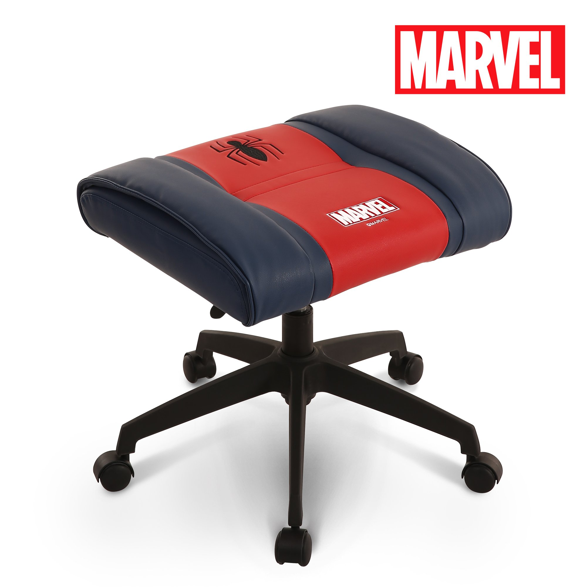 Licensed Marvel Premium Ottoman Foot Rest Seat Stool : Height Adjustable Office Home Furniture Premium PU Leather, Neo Chair (Spider-Man, Red)