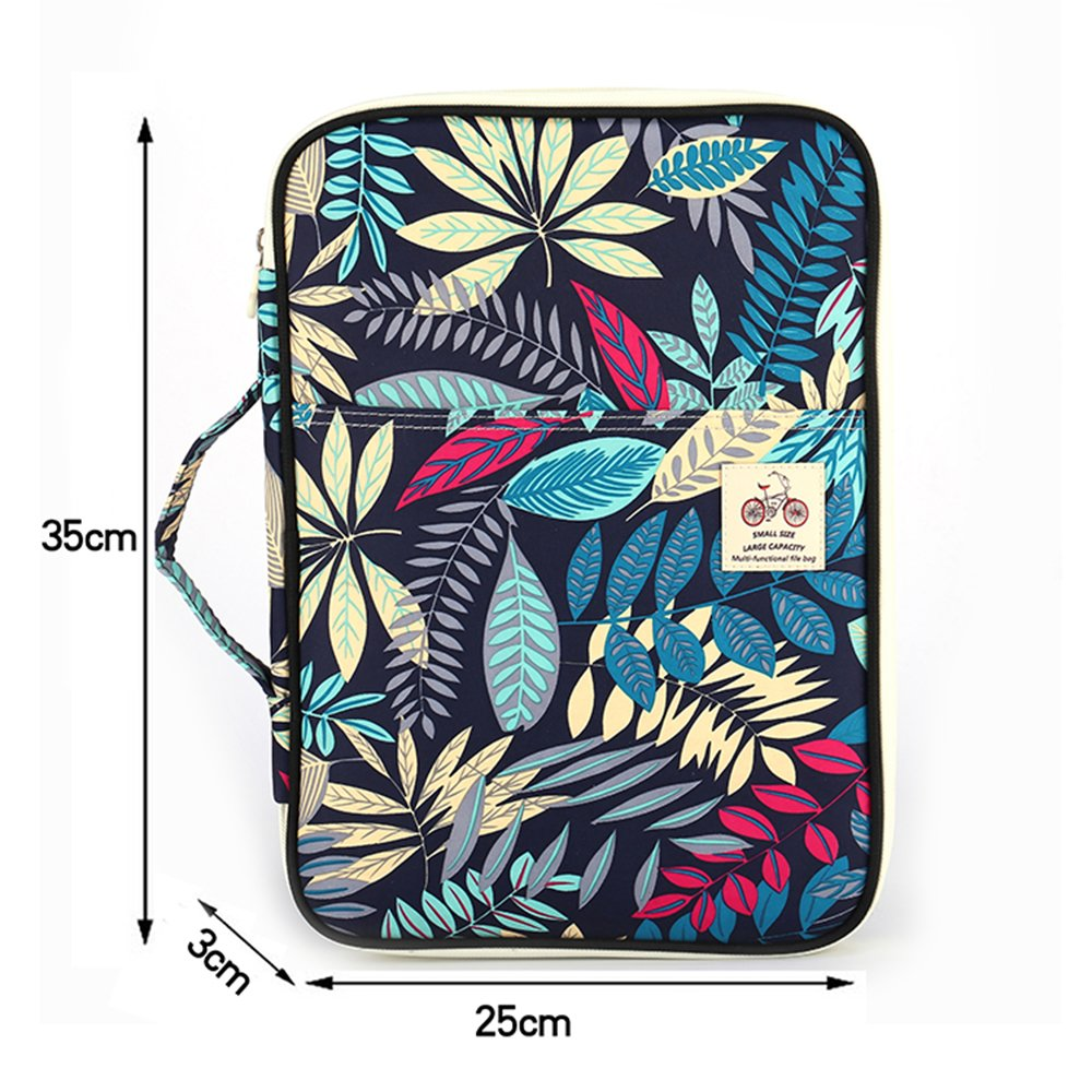 QLX Leaf Shape Multi-Function A4 Storage Briefcase Multi-Layer Waterproof Nylon Simple Style Casual Portable Information Bag