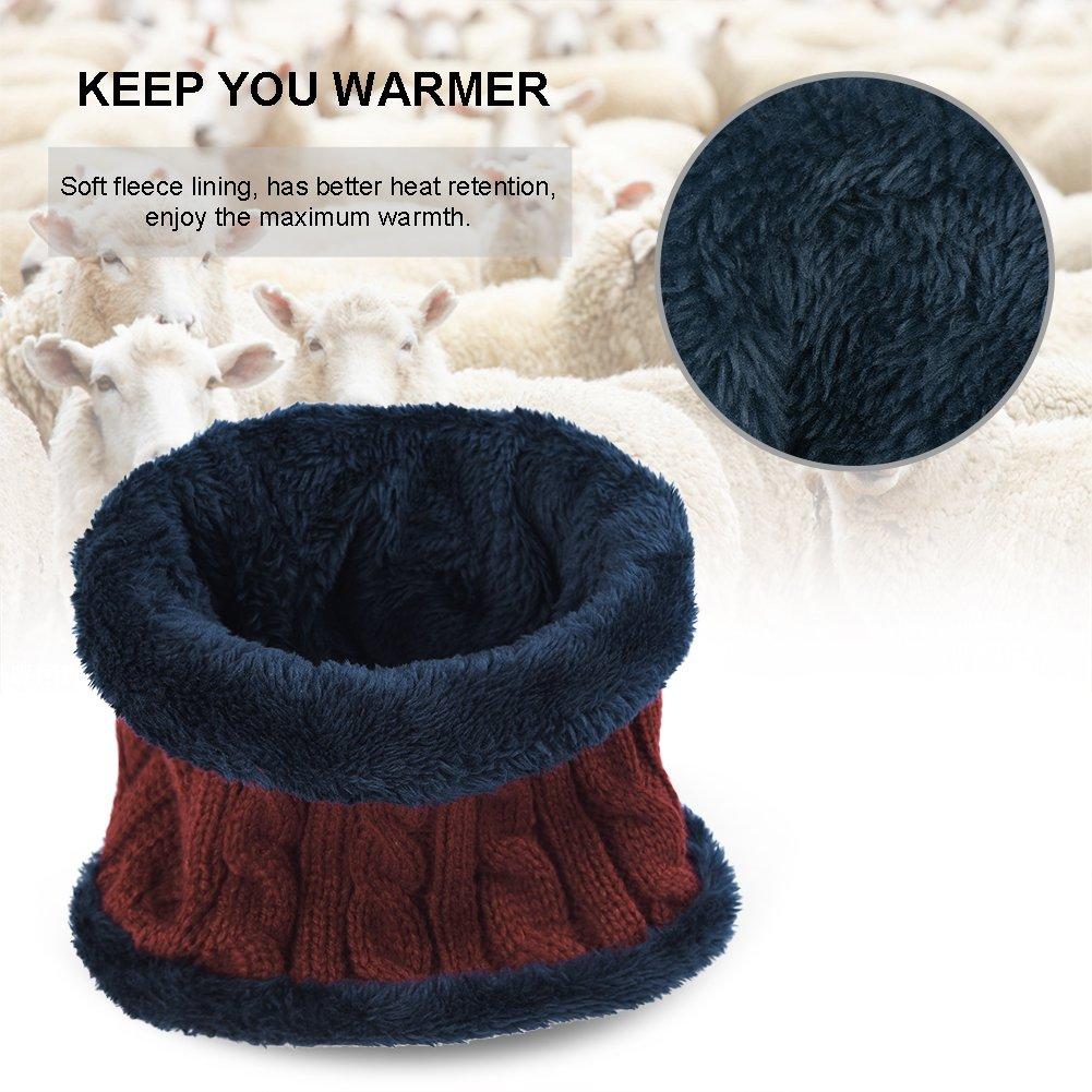 Vbiger Wintermütze Warm Beanie Strickmütze und Schal mit Fleecefutter (Rot-Neu)
