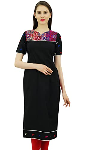Bimba India étnicas recta larga túnica diseñador de algodón puro bordado Kurta yugo Kurti