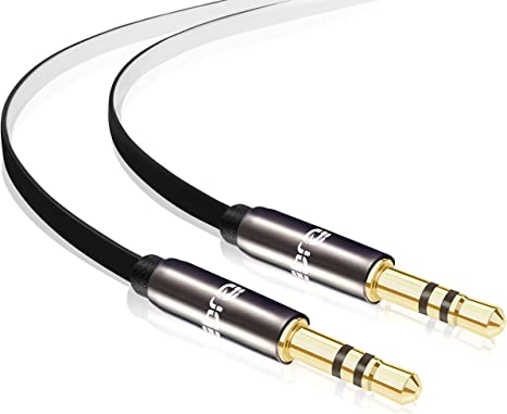 Slim 3.5mm Stereo Jack to Jack Headphone Aux Audio Gold 0.5m 1m 1.5m 2m 3m Cable