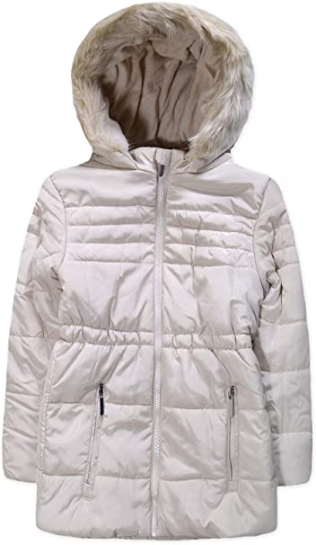 Kids Boys Girls Winter Padded Parka Quilted Coat Hooded Puffed Jacket Age 7-13