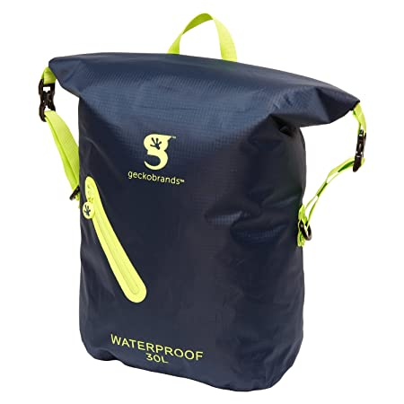 geckobrands Waterproof 30l Lightweight Backpack Navy Bright Green