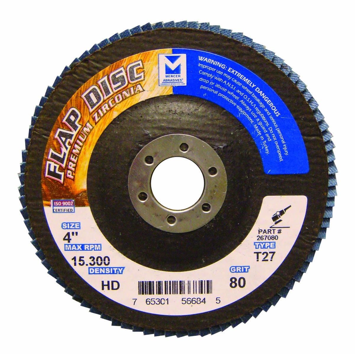 Mercer Industries 267080 Zirconia Flap Disc, High