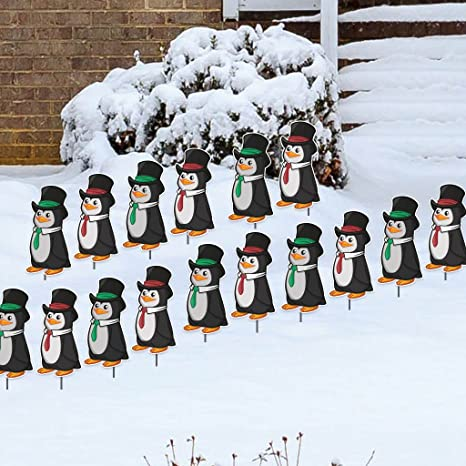 Victorystore Yard Sign Outdoor Lawn Decorations Penguins Christmas Pathway Markers Set Of 16 With 16 Short Stakes