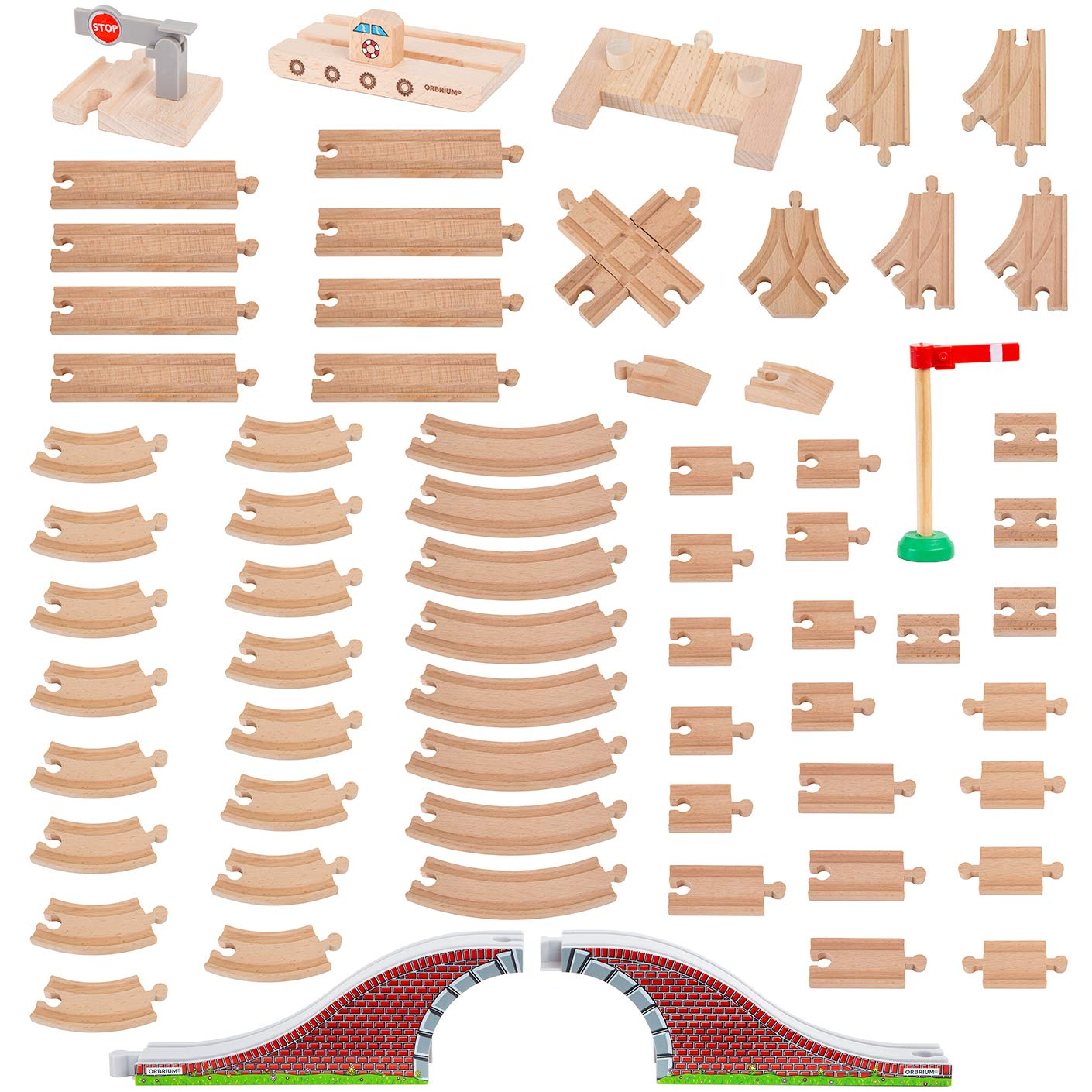 Orbrium Toys 68 Pcs Wooden Train Track Expansion Pack Compatible Thomas Wooden Train Brio Thomas The Tank Engine