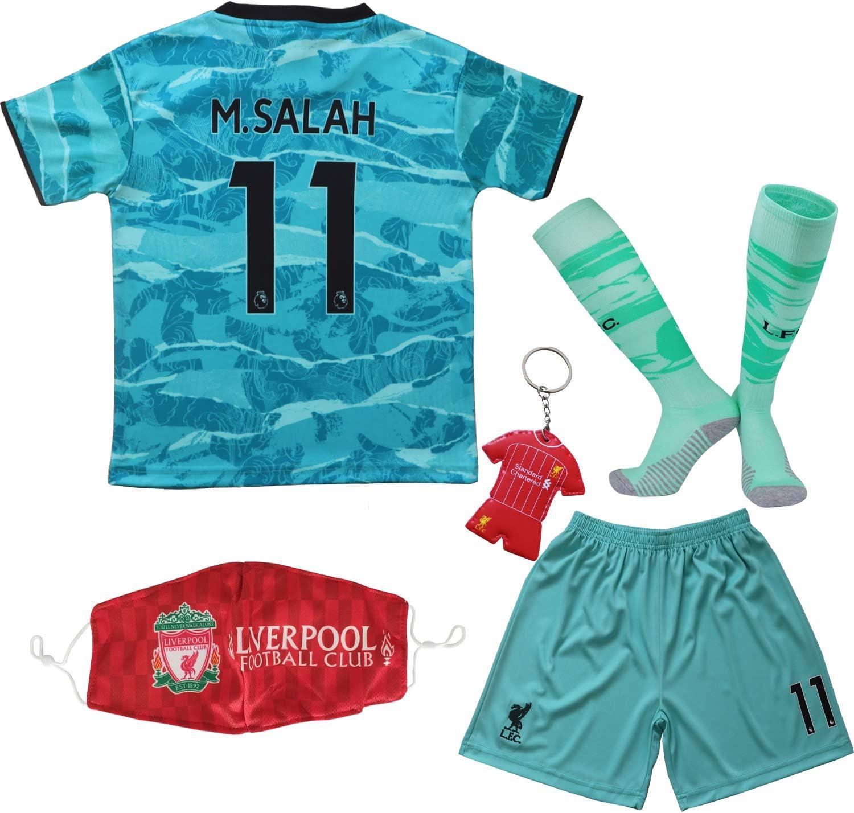 BIRDBOX Youth Sportswear Liverpool Mohamed Salah 11 Kids Away Soccer Jersey/Shorts Bag Keychain Football Socks Set