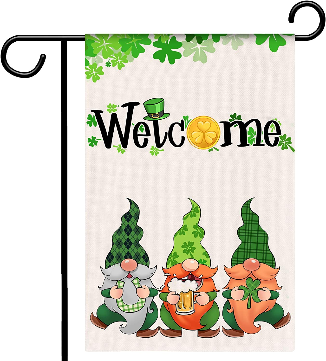 Tmflexe St Patrick Day Garden Flag Gnome Welcome Flag Vertical Double Sided House Flag Spring Holiday Burlap Rustic Yard Lawn Outdoor Decoration 12.5x18 Inch (St Patrick's Day Gnome)