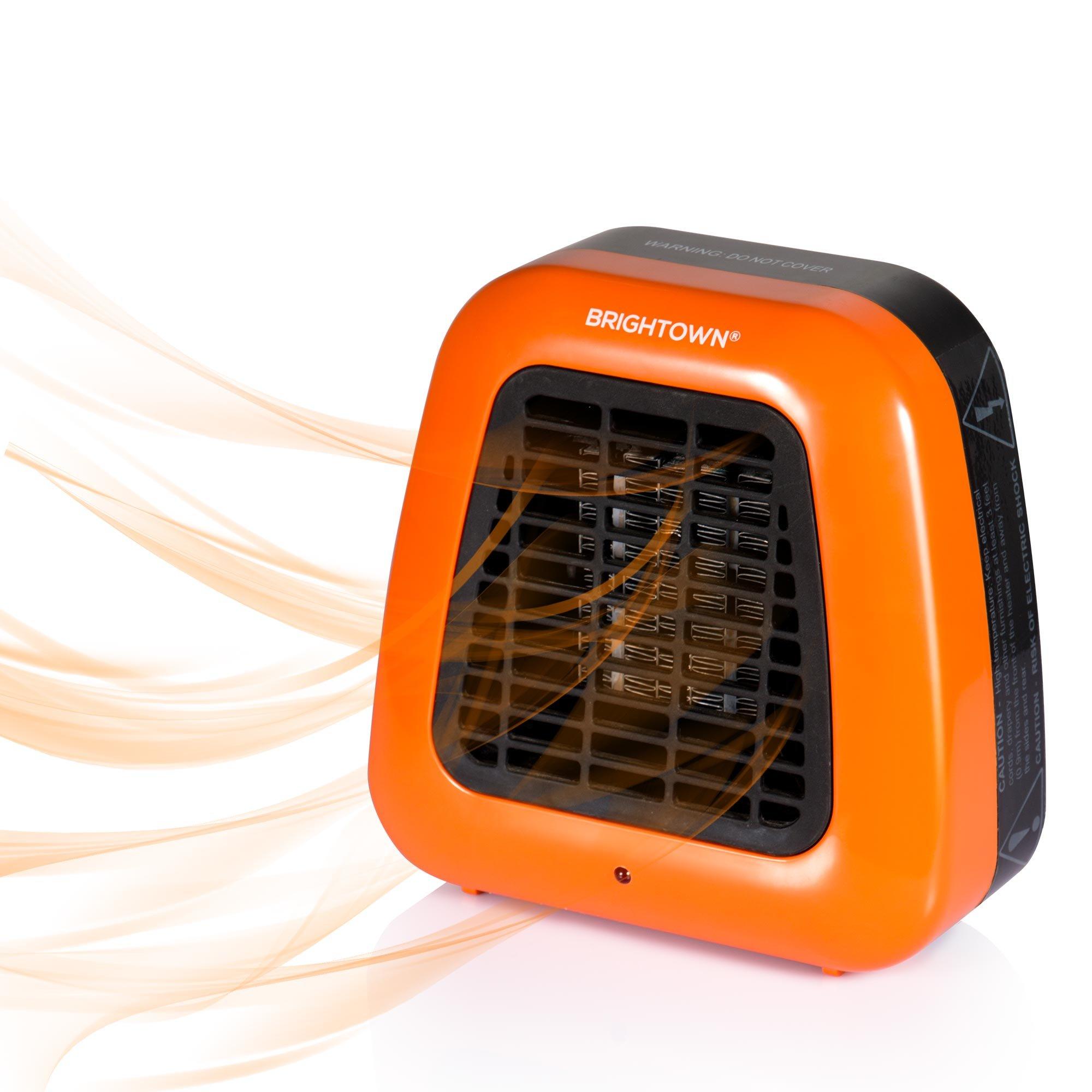 Personal Ceramic Portable-Mini Heater for Office Desktop Table Home Dorm, 400-Watt ETL Listed for Safe Use, Orange by Brightown (Image #3)
