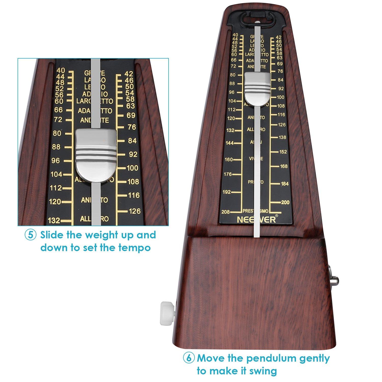 Neewer NW-707 Metrónomo mecánico en termina cuadrado con sincronización exacta y tempo para Piano Guitarra bombo Violin y otros instrumentos musicales, ...