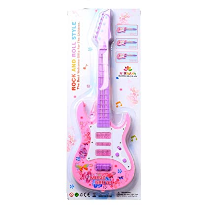 Nyrwana Rock Band Music Guitar With Lights And Sound - Pink
