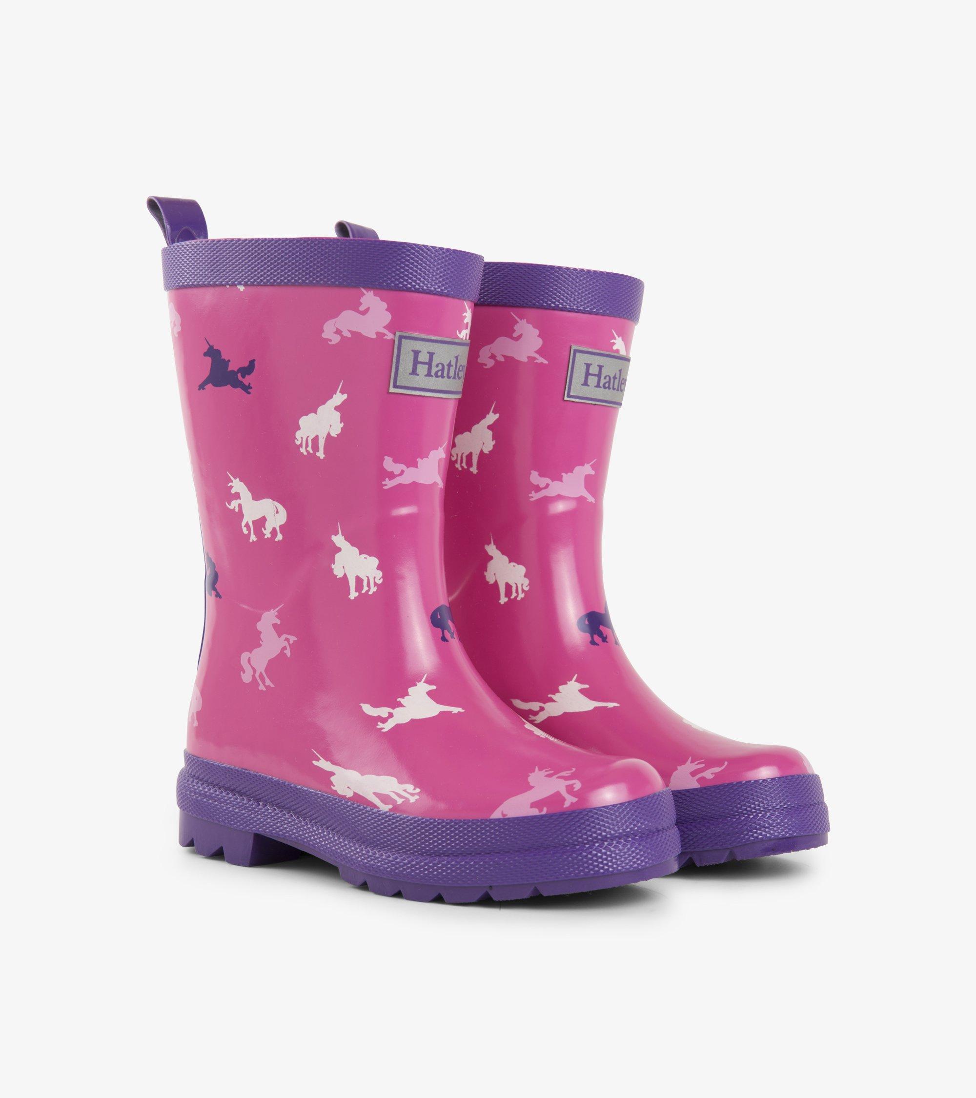 Hatley Girls' Printed Rain Boots, Unicorn Silhouettes, 13 M US Little Kid