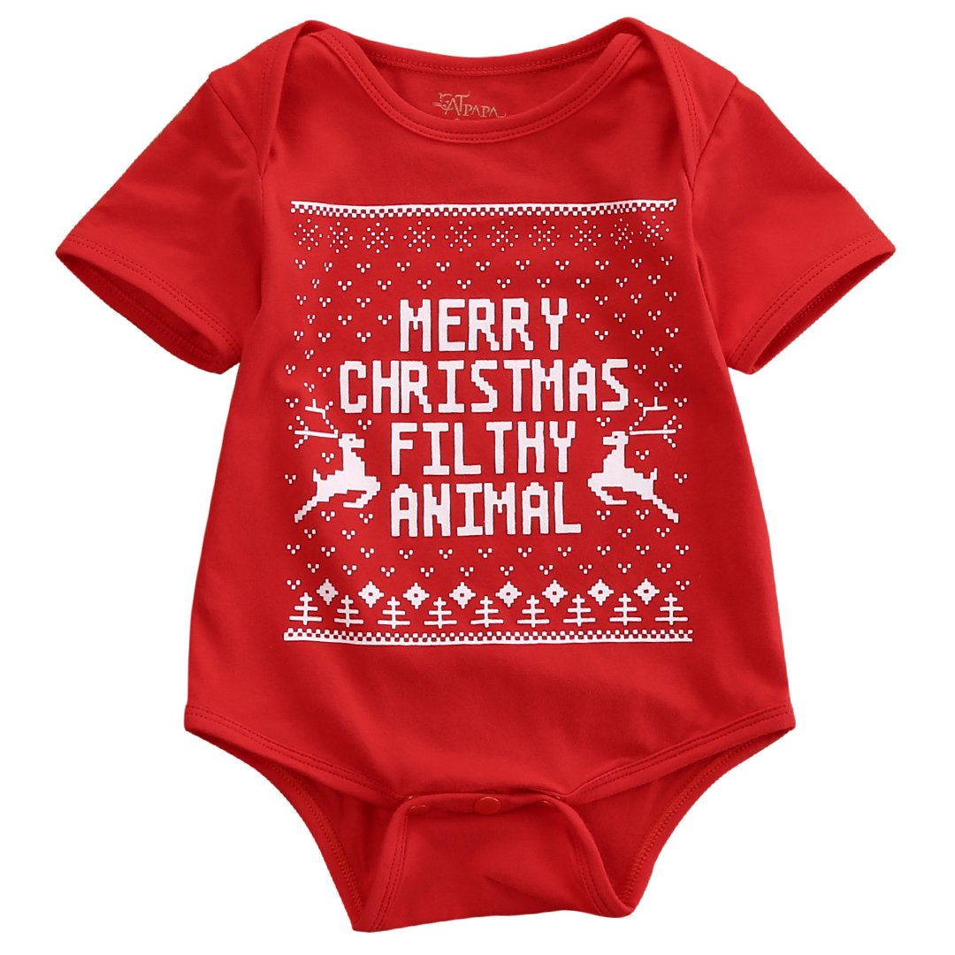 Douhoow Baby Kids Girls Boys My First Christmas Jumpsuit Romper Short Sleeve
