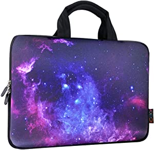 ICOLOR 11 11.6 12 12.1 12.5 inch Laptop Carrying Bag Chromebook Case Notebook Ultrabook Bag Tablet Cover Neoprene Laptop Sleeve case chromebook Sleeve with Handle Kids Boys Girls Blue Galaxy