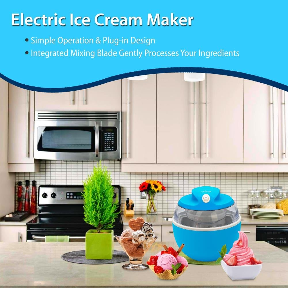 NutriChef Latest Electric Ice Cream Maker Machine - Heavy Duty Mixing Blade w/ Removable Freeze Safe Bowl for Automatic Healthy Homemade Gelato Frozen Yogurt Sorbet for All Ages PKICCM20 by NutriChef (Image #5)