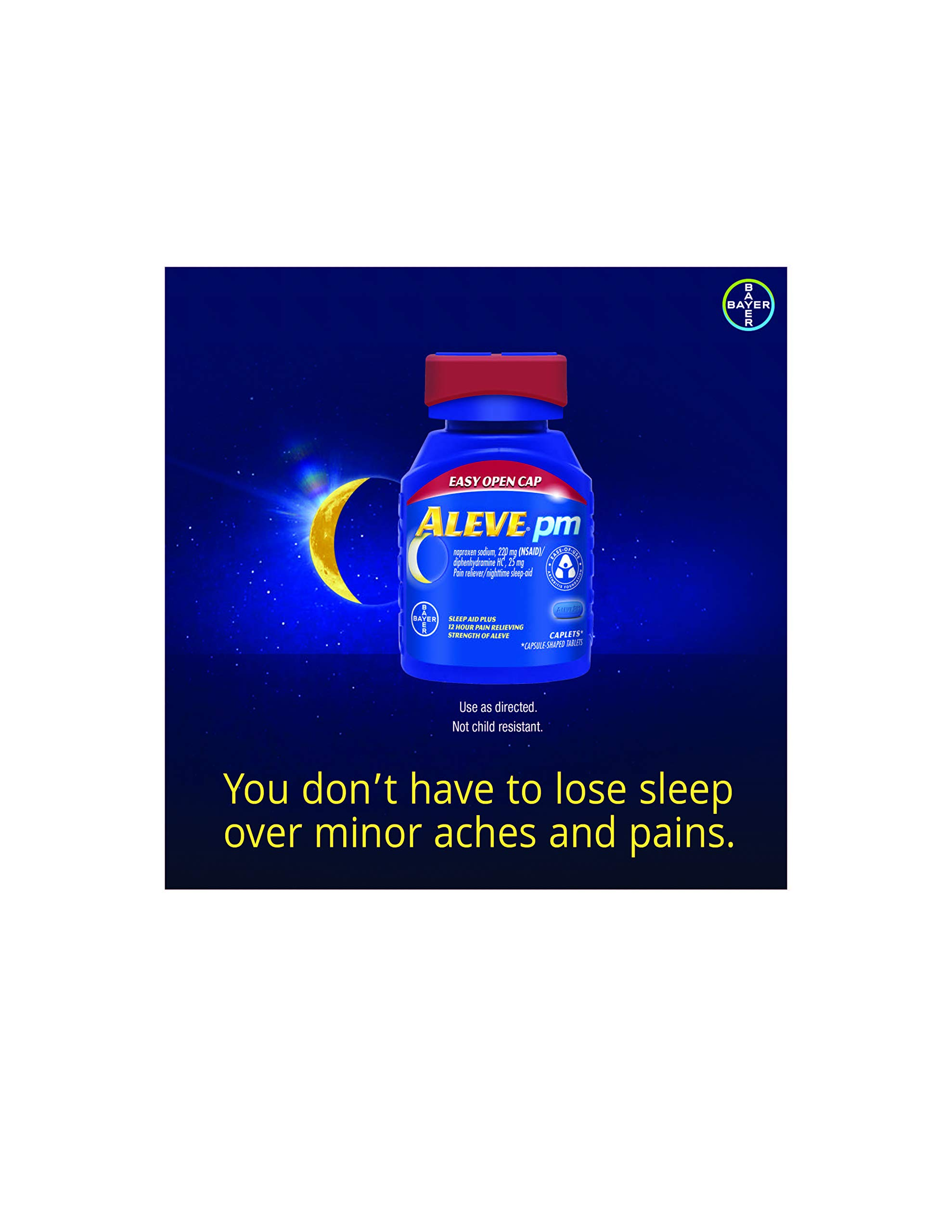 Aleve PM with Easy Open Arthritis Cap, Caplets with Naproxen Sodium, 220mg (NSAID) Pain Reliever/Fever Reducer/Sleep Aid, 80 Count by Aleve