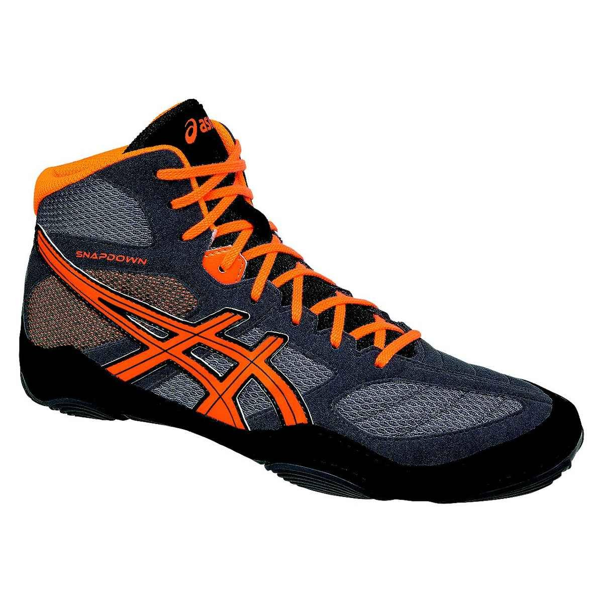 ASICS Men's Snapdown Wrestling Shoe, Shark/Hot Orange/Black, 11 M US by ASICS