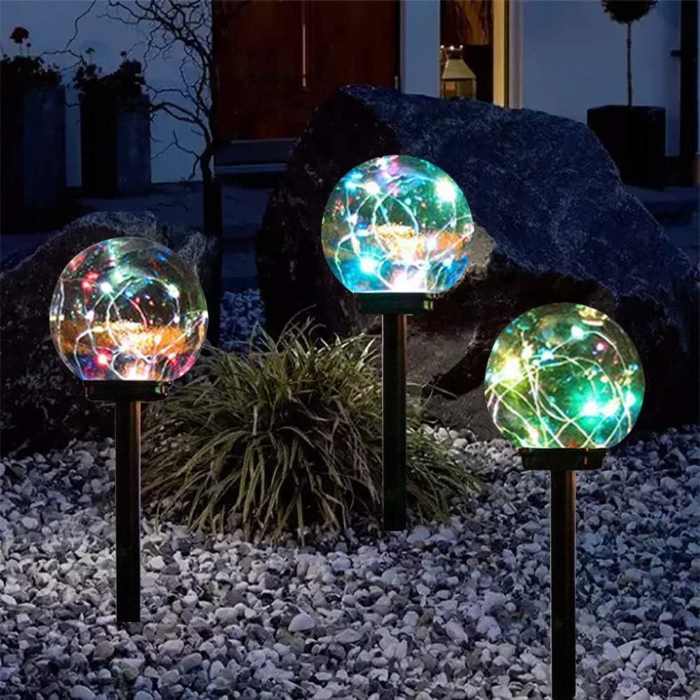 Lebote Tec Solar Lights Outdoor,Color Changing Solar Globe Lights,Waterproof Decorative Solar Landscape Garden Light for Lawn,Yard,Path(3 Pack)