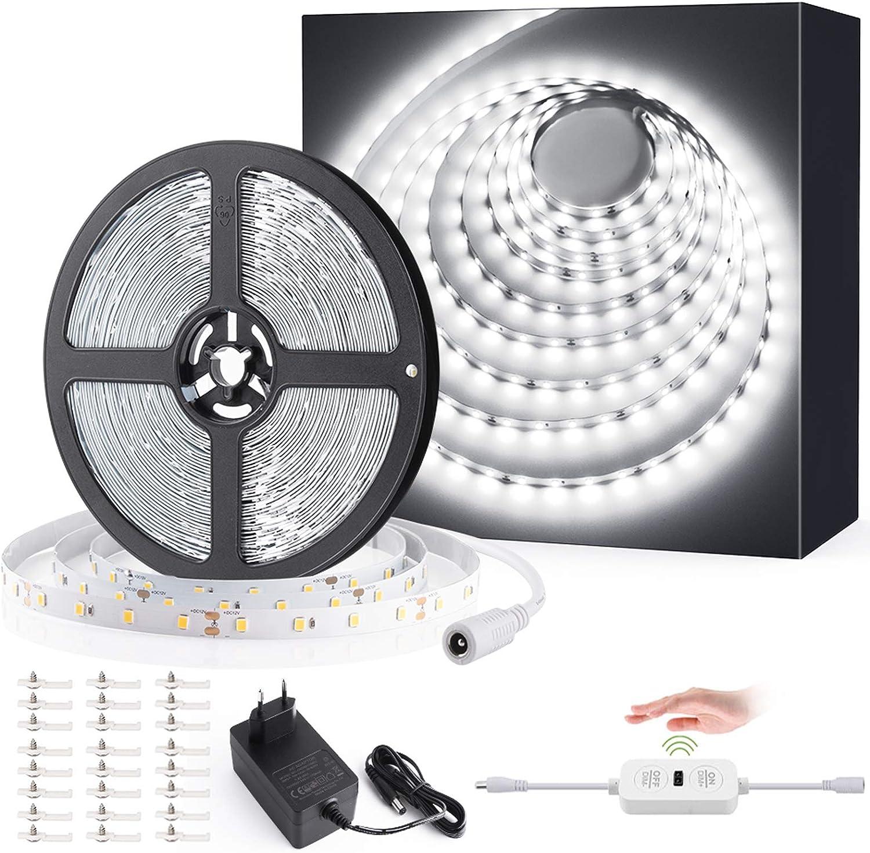 Ustellar Ruban LED Blanc Froid 12M avec Détecteur de movement, 24V 6000K 3600lm 720LEDs 2835 Bande LED Autocollant Eclairage Dimmable Sous Meuble avec 10 Niveaux de Luminosité pour Chambre, Cuisine