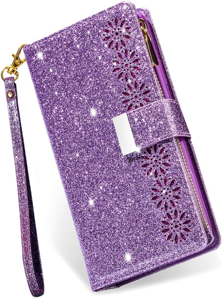 iPhone 7 Plus Wallet Case with Card Holder,iPhone 8 Plus Case for Women,Kudex Bling Glitter Sparkly Leather Flip Folio Kickstand Zipper Purse Case with 9 Card Slot Money Pocket Wrist Strap(Purple)