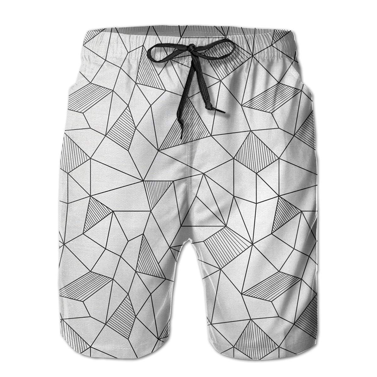 Bilybily Surreal Doodle Drawing Style Men Shorts Summer Loose Men Print Drawstring Casual Beach Work Short Trouser Shorts Pants with Pocket