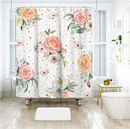 Amazon Livilan Pink Peony Floral Fabric Shower Curtain Set 72