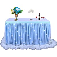 Baby Blue Tulle Tutu Table Skirt for Baby Shower Wedding and Birthday Party,LED Table Skirt for Rectangle or Round Table(14 ft table skirt)