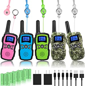 Wishouse Kids Rechargeable Walkie Talkies 5 Pack with 2 USB Chargers, Long Range Two Way Radios for Adults Family, Outdoor Camping Games Indoor Toys Birthday Xmas Gift for Boys Girls Children