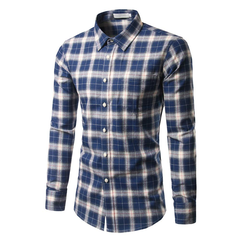 GREFER Men's New Casual and Self-Cultivating Checked Shirt Long Sleeved Checked Shirt Tops Blouse Blue by GREFER