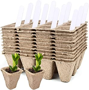 IUMÉ 10 Pack Seed Starter Tray Kit, 120 Cells Organic Biodegradable Germination Seedling Trays Plant Grow Kit Nursery Pots Plug Tray Peat Pot for Vegetable & Flower Plants Herb Seeds Garden Planting