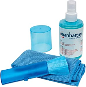 Manhattan Screen Cleaner – Non-Alcohol Cleaning Solution Spray with Soft Microfiber Cloth & Brush – for TV, Computer, Laptop, Monitor, LED, LCD, & Other Electronic Devices