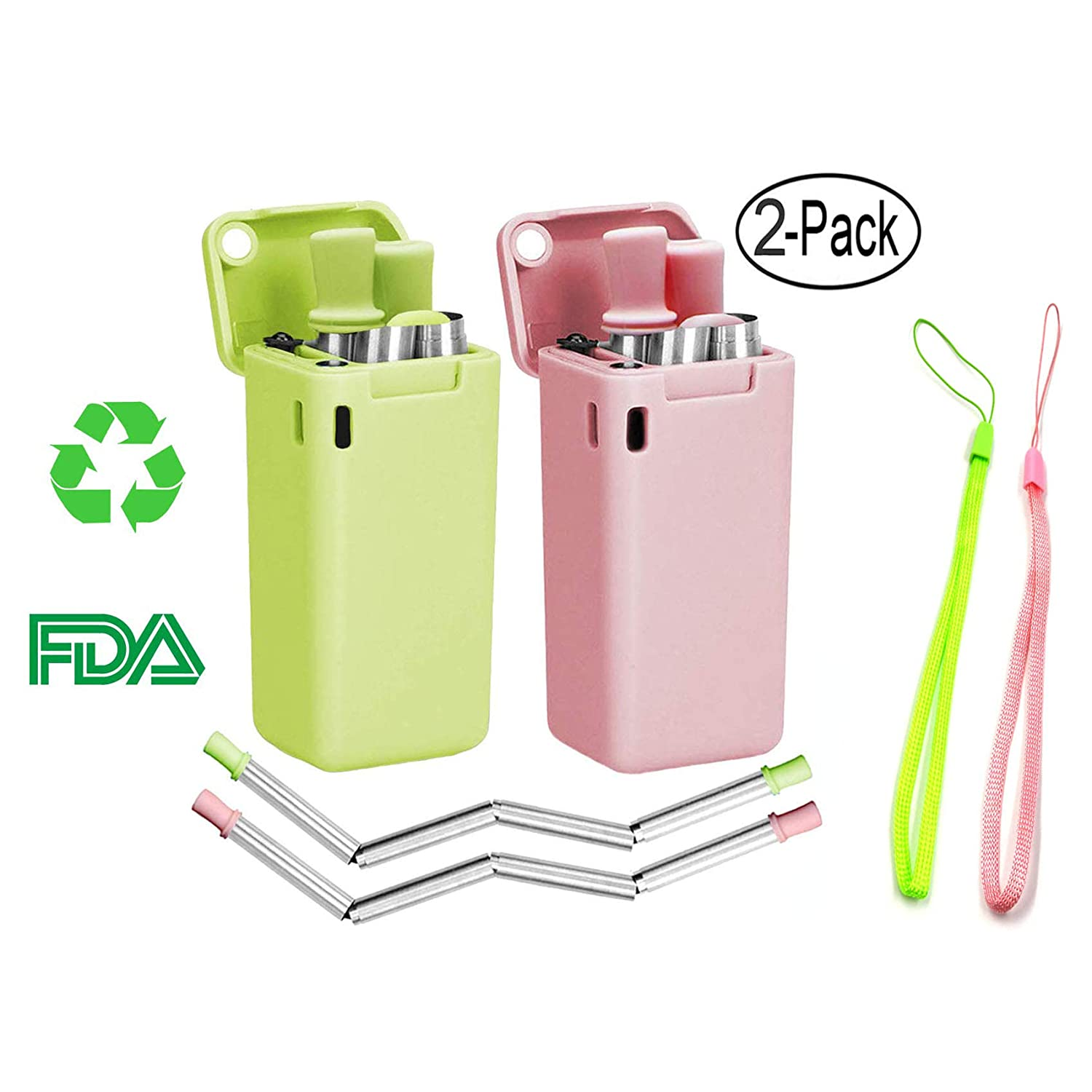 Composed of Stainless Steel and Food-grade Silicone Pink/&green Portable Set with Hard Case Holder and Cleaning Brush 2 Pack Collapsible Reusable Straw Duttek