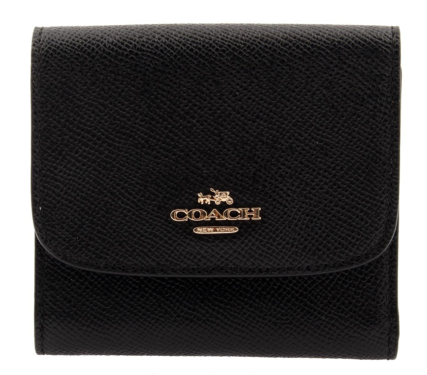 Coach Woman's Crossgrain Leather Small Wallet (Black)