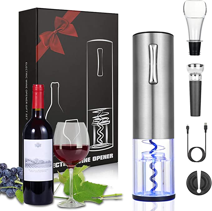 Anpro Electric Wine Opener Rechargeable Corkscrew With Usb Charging Line Pourer Foil Cutter Vacuum Pumping Stopper Ideal Gift For Wine Lovers Amazon Co Uk Kitchen Home