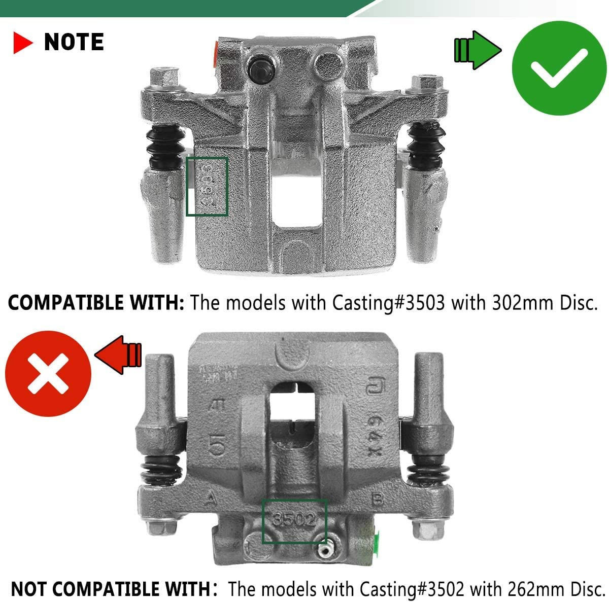 Calipers BRAKEUS Brake Caliper Compatible with 2011-2014 for ...