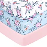 """TILLYOU 3 Pack Jersey Knit Thicker Softer Crib Sheets, 170 GSM Breathable Skin-Friendly Baby Bed Sheets for Girls, 28"""" x…"""